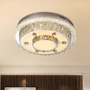 Circle Beveled Glass Crystal LED Flush Light Contemporary Clear Ceiling Mount Light Fixture for Bedroom