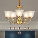 Frosted White Glass Ruffle Up Chandelier Antique 3/5 Lights Dining Room Hanging Lamp in Gold