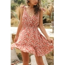 Gorgeous Red Ditsy Floral Printed Bow Tied Shoulder Surplice Neck Ruffled Short A-line Cami Dress for Ladies