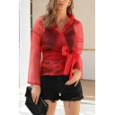 Novelty Womens Solid Color Bow Tie Waist Wrap Front Turn-down Collar Long Sleeve Sheer Mesh Fitted Blouse Top
