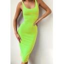 Novelty Plain Open Back U-Shaped Collar Sleeveless Midi Bodycon Tank Dress for Women
