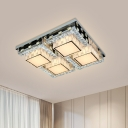 Beveled Crystal Check Ceiling Lighting Contemporary Bedroom Flush Mount in Stainless Steel, 31