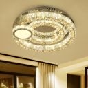 Round Faceted Glass LED Flush Mount Fixture Contemporary Stainless-Steel Close to Ceiling Lamp for Restaurant
