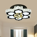 Lotus Clear Crystal Glass Semi Flush Contemporary LED Stainless-Steel Ceiling Mount Light Fixture with Glass Drops