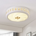 White Drum LED Flushmount Nordic Iron Bedroom Ceiling Mount Light with Inserted Crystal, 16.5
