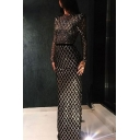 Black Goth Womens Sequin Tie Waist Open Back Mock Neck Long Sleeve Floor Length Sheath Gown Evening Dress