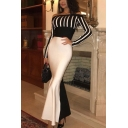 Black and White Unique Womens Striped Color Block Open Back Off the Shoulder Long Sleeve Maxi Bodycon Gown Mermaid Dress