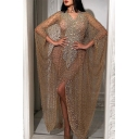 Gold Sexy Two Pieces High Slit Side Detailed Cuffs V Neck Floor Length Sheath Gown Party Dress for Women