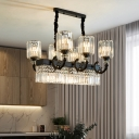 Translucent Crystal Cylindrical Ceiling Lamp Contemporary 9 Bulbs Black Island Chandelier Light for Kitchen