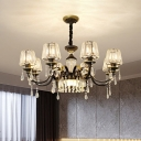 Black 6/8-Light Chandelier Lamp Traditional Prismatic Crystal Cone Shade Hanging Pendant