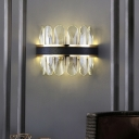 Modern Half Shade Wall Light Clear Crystal LED Wall Sconce Lighting in Black for Living Room