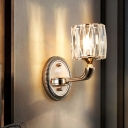 Gold Cylinder Sconce Light Fixture Contemporary 1/2-Bulb Clear Crystal Glass Wall Mounted Lighting for Staircase