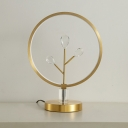Round-Shape Crystal Drip LED Desk Lamp Modern Style Brass Night Table Light for Sleeping Room