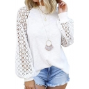 Stylish Ladies' Blouson Sleeve Crew Neck Sheer Mesh Patched Purl Knit Fitted Pullover Sweater in White