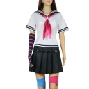 Trendy Striped Short Sleeve Sailor Collar Tie Regular Fit Tee Top & Strap Decoration Mini A-line Pleated Skirt Set in White