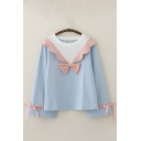 Trendy Girls Bow Tied Scalloped Contrasted Round Neck Long Sleeve Loose Fit Sweatshirt