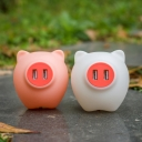 Plastic Piglet Small Night Lamp Kids Plug-in LED Wall Lighting in White/Pink for Bedroom