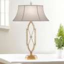 1 Bulb Bell Shade Nightstand Light Traditional Gold/Silver Fabric Table Lighting with Crystal Bead Stand
