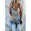 Hot Summer Ladies Tropical Printed Sleveless Spaghetti Straps Relaxed Fit Tuinc Cami Top