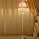 Fabric Bronze Floor Standing Light Pleated Shade 4 Heads Traditional Floor Lighting with Phoenix Arm