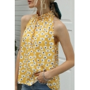 Popular Womens All over Flower Print Sleeveless Stringy Selvedge Mock Neck Relaxed Fit Tank Top in Yellow