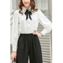 Formal Womens White Contrast Pipe Long Sleeve Point Collar Button up Bow Tie Loose Fit Shirt