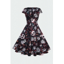 Retro Womens Floral Skull Printing Pleated Zipper Back Sweetheart Neck Cap Sleeve Midi Swing Dress