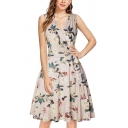 Glamorous Womens Floral Print Bow Tie Open Back Pleated Surplice Neck Sleeveless Midi Fit&Flare Dress