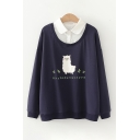Popular Girls Japanese Letter Sheep Graphic Long Sleeve Patched Contrasted Polo Collar Relaxed Pullover Sweatshirt