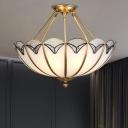 4-Light White Glass Flush Ceiling Light Colonial Brass Umbrella Living Room Semi Flush