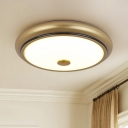 Rounded White Glass Flush Mount Countryside Bedroom LED Close to Ceiling Lighting in Black/Gold, 13