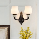 1/2 Lights Conical Wall Lamp Traditional Black and Gold Milk Glass Wall Mount Light Fixture
