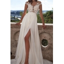 Womens White See-through Applique Short Sleeve Round Neck High Slit Maxi Flowy Boutique Dress Gown