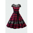 Trendy Womens Plaid Patched Lace Bow Tie Open Back Keyhole Neckline Short Sleeve Midi Swing Dress in Red