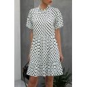 Fancy Womens Checkered Polka Dot Pleated Ruffle Trim Crew Neck Short Frill Sleeve Short Smock Dress