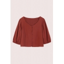 Casual Solid Color Blouson Sleeve Sweetheart Neck Button up Relaxed Cropped Blouse
