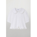 Novelty Ladies Short Sleeve Peter Pan Collar Button-up Stringy Selvedge Relaxed Crop Shirt in White