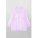 Popular Girls See-through Mesh Long Sleeve Point Collar Button up Loose Fit Shirt Top