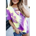 Fashion Tie Dye Printed Short Sleeve Hollow out V-neck Relaxed Tee Top for Ladies
