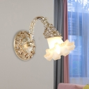 1 Head Blossom Wall Light Fixture Countryside Silver/White Ivory Glass Wall Mount Lamp with Arc Arm