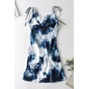 Glamorous Tie Dye Prionted Backless Zipper Sleeveless Knoted Spaghetti Straps Mini Camisole Blue Dress for Ladies