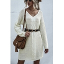 Beige Chic Patchwork V Neck Long Sleeve Knitted Mini Swing Sweater Dress for Women