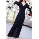 Fashionable Black V-Neck Long Sleeve Lace Panel Hem Fishtail Floor Length Bodycon Evening Dress