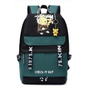 Popular Letter Midoriya Cartoon Graphic Contrasted Straps Large Capacity Backpack in Blue