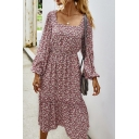 Fancy Ditsy Floral Printed Split Side Gathered Waist Stringy Selvedge Square Neck Bishop Long Sleeve Midi A-Line Dress for Women