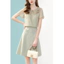 Fancy Contrast Trim Button Front Peter Pan Collar Short Sleeve Fitted T-Shirt & Contrast Piping Flap Pocket High Waist Midi A-Line Skirt Set in Green