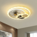 5-Blade Sun Metallic Pendant Fan Light Modernism LED Black Semi Flush Ceiling Fixture, 19.5