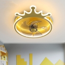 Crown Kids Bedroom 5-Blade Semi Flush Metallic LED Cartoon Hanging Fan Lamp Fixture in Gold, 16