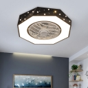 Geometric Metallic Flush Fan Light Macaron White/Black/Pink Finish LED Semi Flush Ceiling Lamp Fixture, 21.5