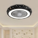 Round Semi Flushmount Lighting Modernism Metal White/Black/Pink Finish LED Ceiling Fan Light, 21.5